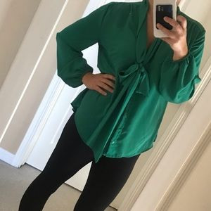 Emerald Green BowTie Blouse